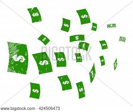 Flying Dollar Banknotes Icon With Grunge Effect. Isolated Vector Flying Dollar Banknotes Icon Image