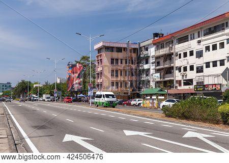 Kota Kinabalu, Malaysia - March 17, 2019: Kota Kinabalu Street View With Modern Buildings Of Jalan K