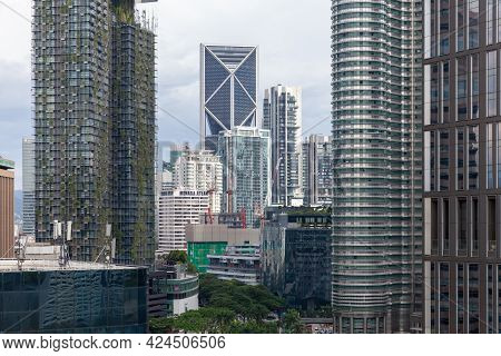 Kuala Lumpur, Malaysia - November 28, 2019: Kuala Lumpur Downtown, Modern Office Towers