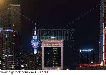 Kuala Lumpur, Malaysia - November 28, 2019: Kuala Lumpur Downtown View At Night, Skyline With The Ku