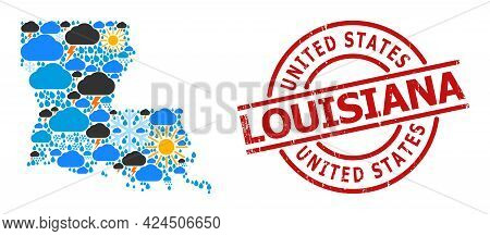 Climate Mosaic Map Of Louisiana State, And Grunge Red Round Stamp. Geographic Vector Mosaic Map Of L