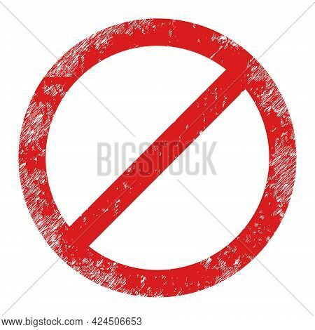 Forbid Icon With Grunge Style. Isolated Vector Forbid Icon Image With Grunge Rubber Texture On A Whi