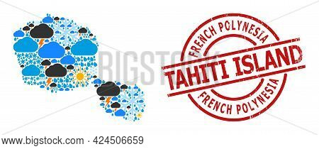 Climate Mosaic Map Of Tahiti Island, And Distress Red Round Badge. Geographic Vector Mosaic Map Of T