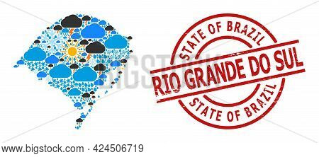 Weather Mosaic Map Of Rio Grande Do Sul State, And Textured Red Round Seal. Geographic Vector Compos