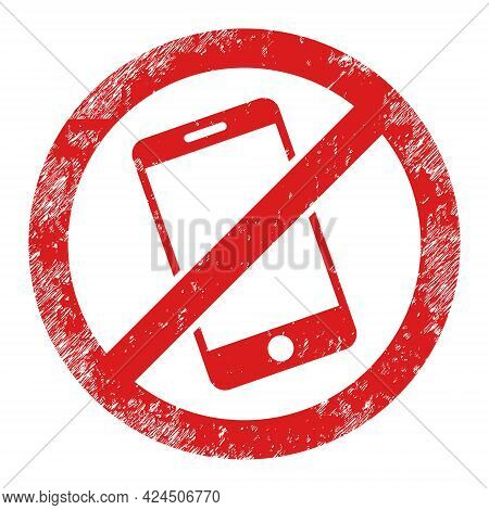 Smartphone Restricted Icon With Grunge Style. Isolated Vector Smartphone Restricted Icon Image With