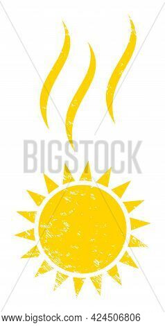 Sun Warm Icon With Grunge Effect. Isolated Vector Sun Warm Symbol With Grunge Rubber Texture On A Wh