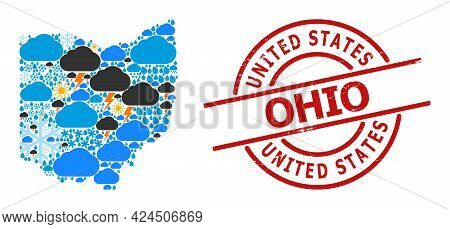Weather Collage Map Of Ohio State, And Grunge Red Round Seal. Geographic Vector Composition Map Of O