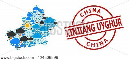 Weather Collage Map Of Xinjiang Uyghur Region, And Distress Red Round Stamp. Geographic Vector Colla