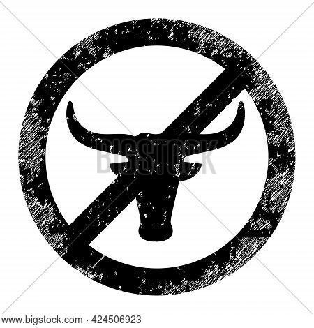 No Beef Icon With Grunge Style. Isolated Vector No Beef Icon Image With Grunge Rubber Texture On A W