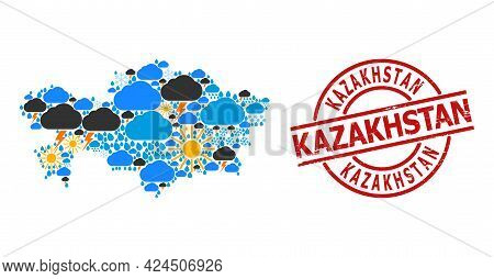 Climate Pattern Map Of Kazakhstan, And Grunge Red Round Stamp. Geographic Vector Composition Map Of
