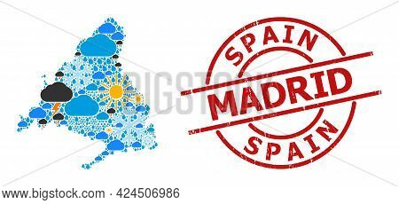 Weather Collage Map Of Madrid Province, And Textured Red Round Badge. Geographic Vector Collage Map