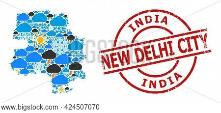 Weather Pattern Map Of New Delhi City, And Distress Red Round Badge. Geographic Vector Mosaic Map Of