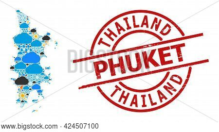 Climate Collage Map Of Phuket, And Distress Red Round Seal. Geographic Vector Collage Map Of Phuket