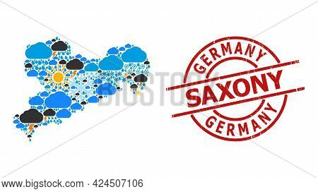 Weather Pattern Map Of Saxony State, And Scratched Red Round Badge. Geographic Vector Composition Ma