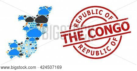 Climate Collage Map Of Republic Of The Congo, And Distress Red Round Stamp. Geographic Vector Collag