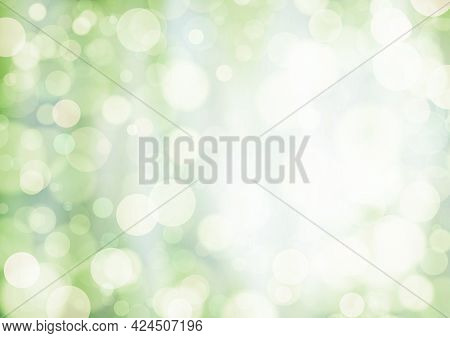 White Yellow Olive Green Background With Bokeh Effect, Blur And Gradient. Colorful Blurred Texture.