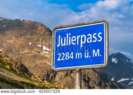 The Julier Pass Is An Alpine Pass In The Canton Of Graubunden In Switzerland. With A Peak Height Of