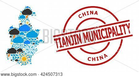 Weather Mosaic Map Of Tianjin Municipality, And Rubber Red Round Stamp Seal. Geographic Vector Colla