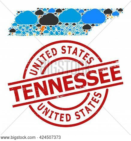Weather Mosaic Map Of Tennessee State, And Rubber Red Round Stamp. Geographic Vector Collage Map Of