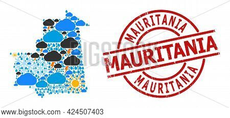 Weather Pattern Map Of Mauritania, And Grunge Red Round Stamp Seal. Geographic Vector Collage Map Of