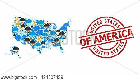 Climate Mosaic Map Of Usa Territories, And Rubber Red Round Badge. Geographic Vector Mosaic Map Of U