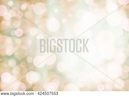 Beige White Green Brown Background With Bokeh Effect, Blur And Gradient. Colorful Blurred Texture. M