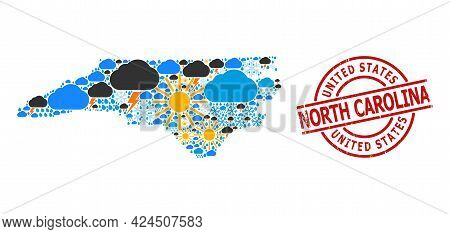 Weather Pattern Map Of North Carolina State, And Grunge Red Round Seal. Geographic Vector Mosaic Map
