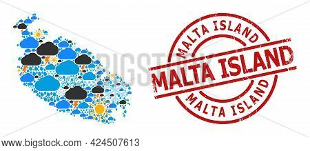 Climate Pattern Map Of Malta Island, And Distress Red Round Stamp Seal. Geographic Vector Collage Ma
