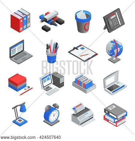 Different Red Blue And Grey Office Tools For Workplace Isometric Icons Set Isolated Vector Illustrat