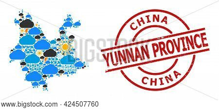 Climate Mosaic Map Of Yunnan Province, And Distress Red Round Stamp Seal. Geographic Vector Mosaic M
