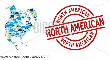 Weather Mosaic Map Of North America, And Grunge Red Round Stamp. Geographic Vector Mosaic Map Of Nor