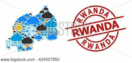 Weather Mosaic Map Of Rwanda, And Textured Red Round Badge. Geographic Vector Concept Map Of Rwanda