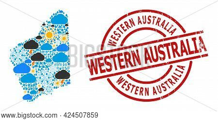 Climate Pattern Map Of Western Australia, And Distress Red Round Stamp Seal. Geographic Vector Mosai
