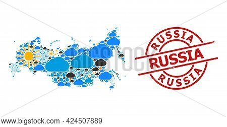 Climate Mosaic Map Of Russia, And Grunge Red Round Seal. Geographic Vector Concept Map Of Russia Is