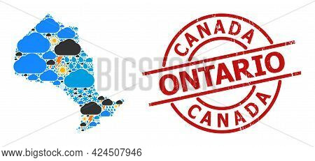 Climate Collage Map Of Ontario Province, And Distress Red Round Seal. Geographic Vector Collage Map