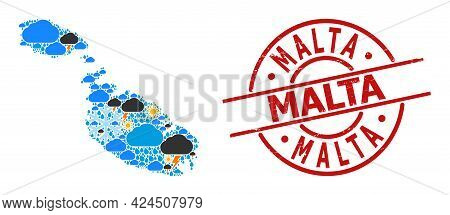 Weather Collage Map Of Malta, And Grunge Red Round Seal. Geographic Vector Collage Map Of Malta Is C