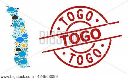 Climate Collage Map Of Togo, And Distress Red Round Stamp. Geographic Vector Composition Map Of Togo