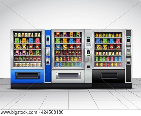 Realistic Vending Machines Front View With Food And Drinks On Tiled Floor Near Grey Wall Vector Illu