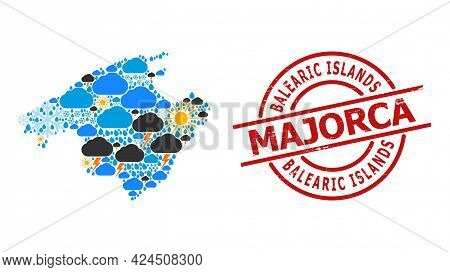 Weather Mosaic Map Of Majorca, And Scratched Red Round Stamp. Geographic Vector Mosaic Map Of Majorc