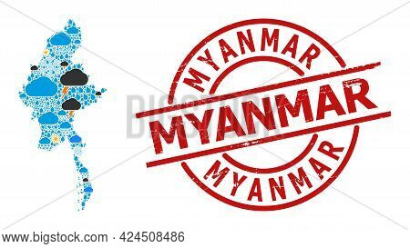 Climate Mosaic Map Of Myanmar, And Grunge Red Round Seal. Geographic Vector Mosaic Map Of Myanmar Is