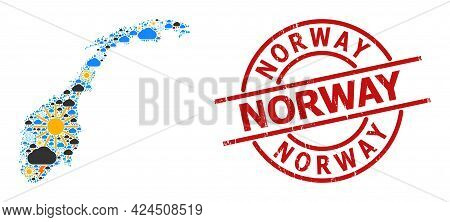 Climate Collage Map Of Norway, And Distress Red Round Stamp Seal. Geographic Vector Concept Map Of N