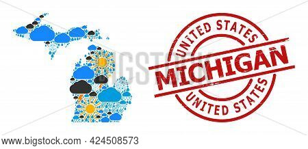 Weather Mosaic Map Of Michigan State, And Textured Red Round Stamp Seal. Geographic Vector Mosaic Ma