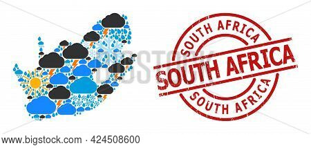 Climate Pattern Map Of South African Republic, And Grunge Red Round Seal. Geographic Vector Collage