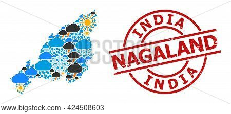 Climate Collage Map Of Nagaland State, And Textured Red Round Seal. Geographic Vector Collage Map Of