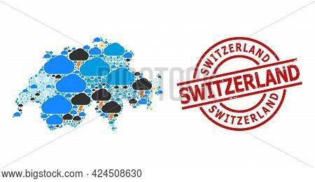 Weather Collage Map Of Switzerland, And Textured Red Round Seal. Geographic Vector Collage Map Of Sw