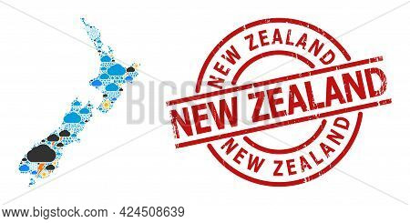 Climate Collage Map Of New Zealand, And Distress Red Round Seal. Geographic Vector Collage Map Of Ne
