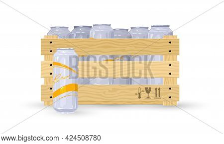 Cartoon Bunch Of Lager Or Light Beer Drink In Wooden Box. Vector Shipment To Stores, Alcohol Transpo