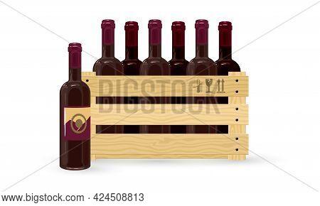 Cartoon Delicious Dessert Wine For Dinner, Restaurant Menu, Winemaker. Vector Wine Made Of Fresh Gra