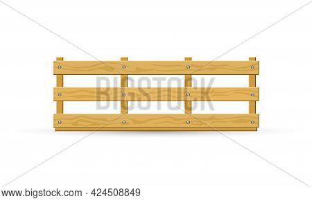 Cartoon Of Solid Natural Material Crate For Transportation Or Delivery Service. Vector Empty Box Mad