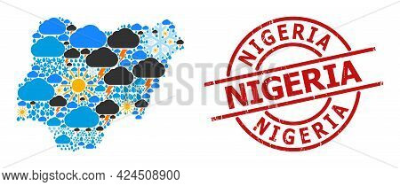 Weather Collage Map Of Nigeria, And Scratched Red Round Seal. Geographic Vector Mosaic Map Of Nigeri